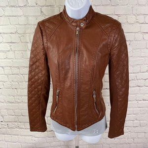 Express Women's Faux Leather Brown Moto Jacket